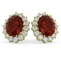 Oval Garnet and Diamond Earrings 14k Yellow Gold (10.80ctw