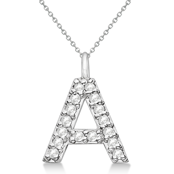 Customized Block-Letter Pave Diamond Initial Pendant 14k