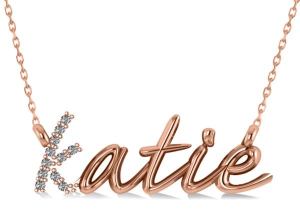 Personalized Diamond Nameplate Pendant Necklace 14k Rose
