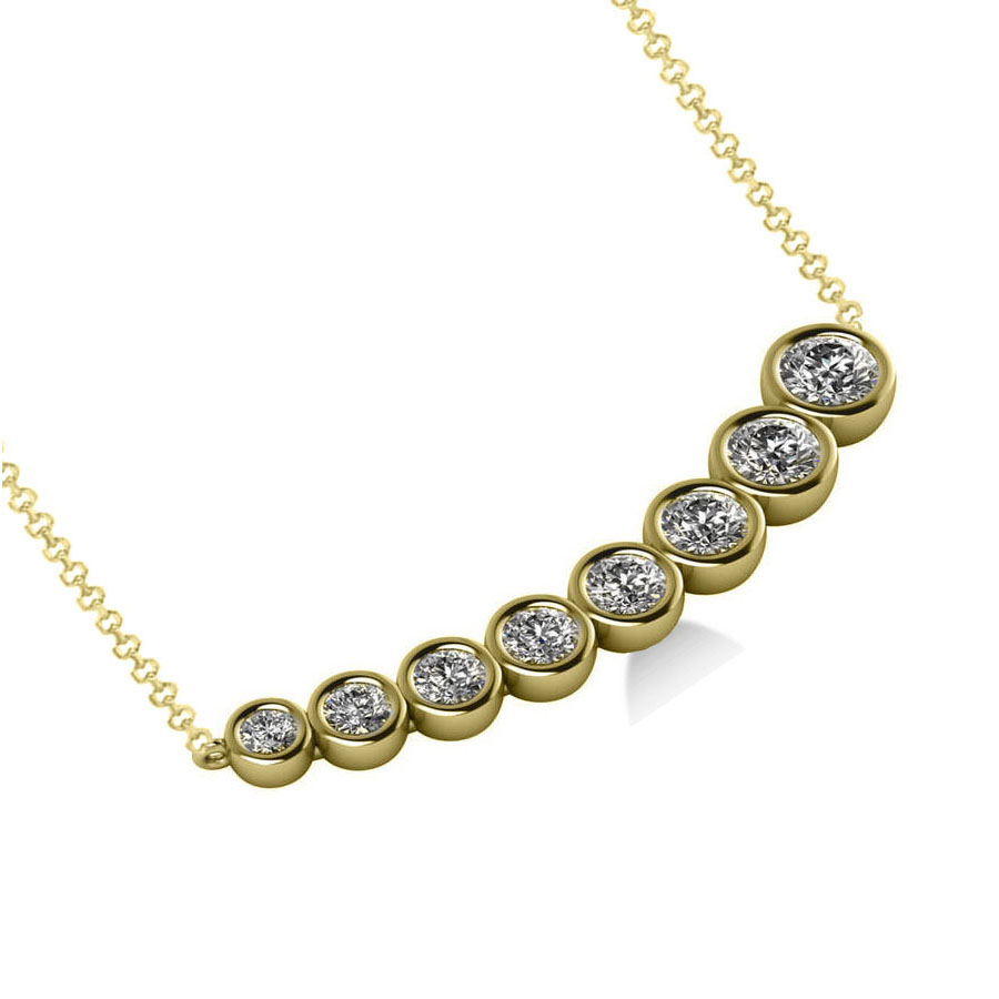 Graduated Diamond Curved Bar Pendant Necklace 14k Yellow