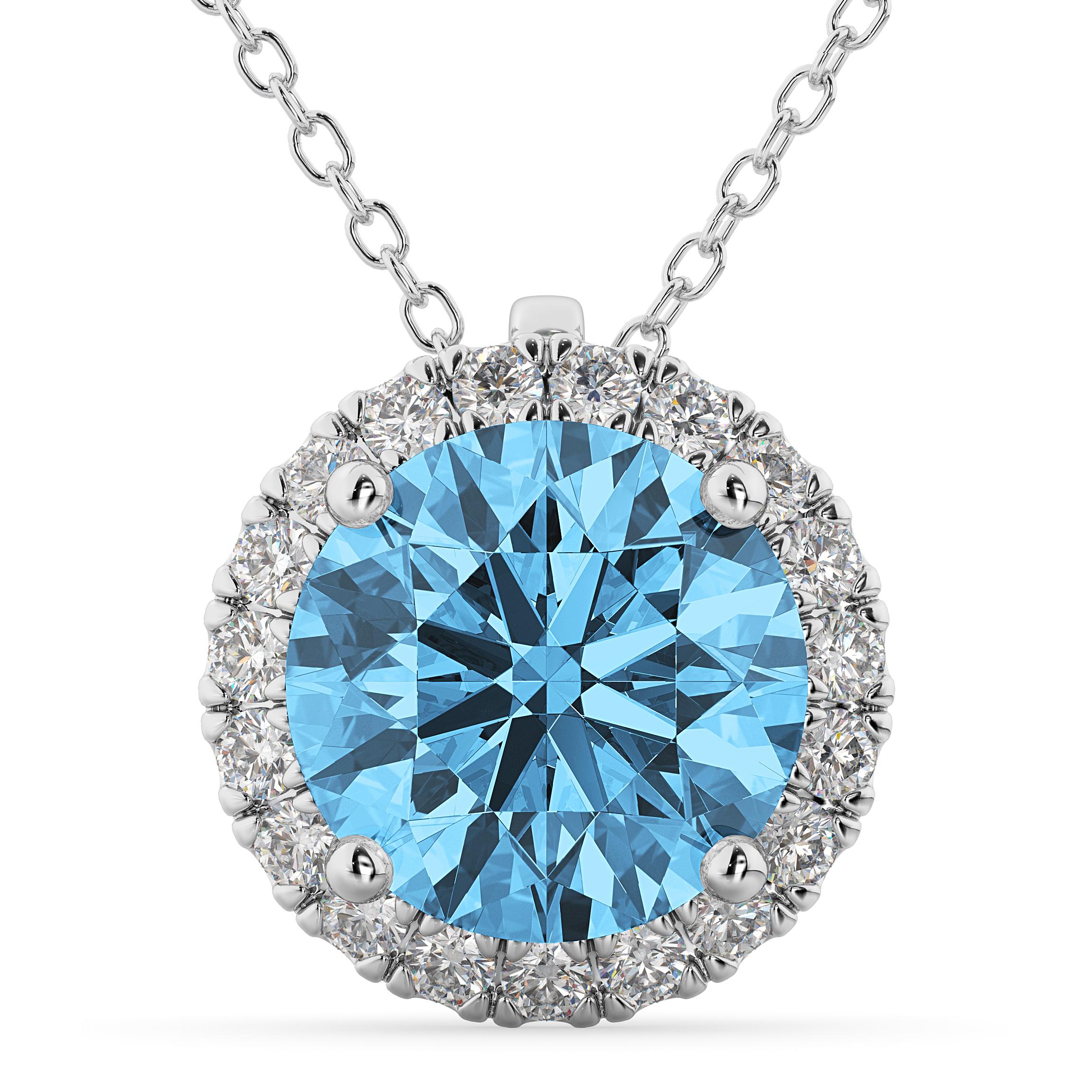 Halo Round Blue Topaz Amp Diamond Pendant Necklace 14k White