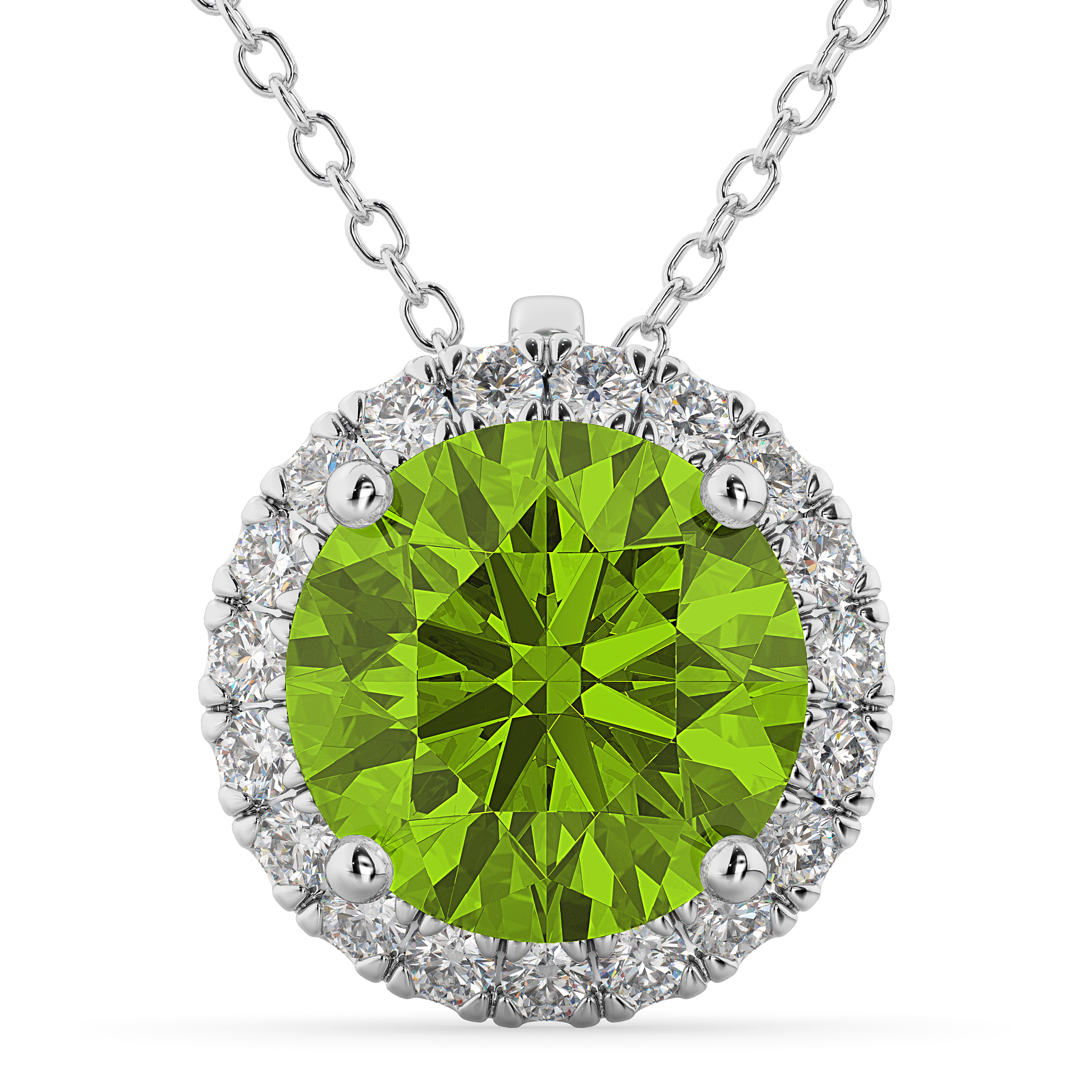 Halo Round Peridot Amp Diamond Pendant Necklace 14k White