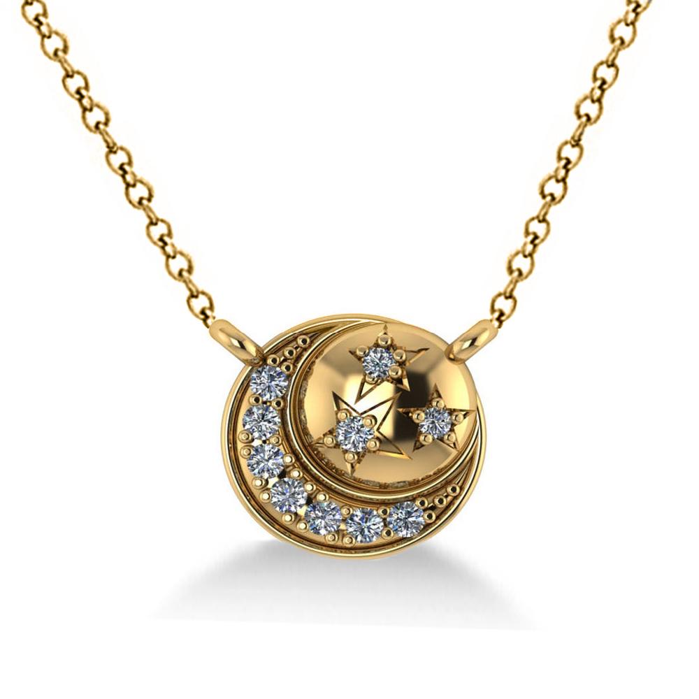 Diamond Crescent Moon Amp Stars Pendant Necklace 14k Yellow