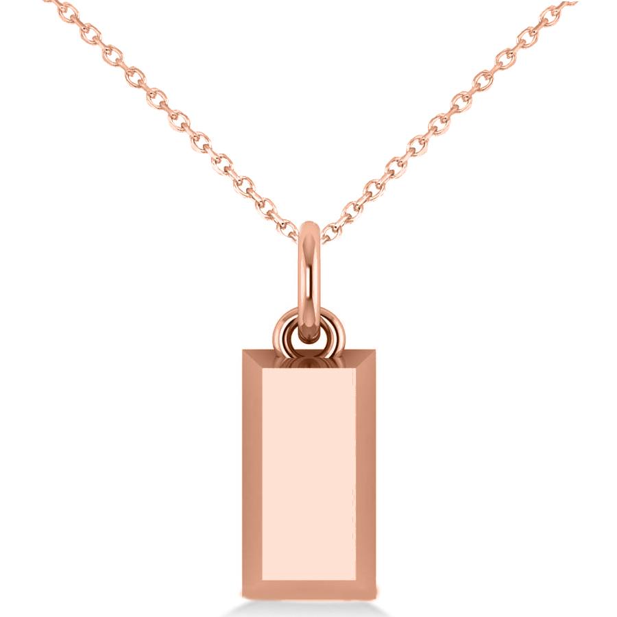 Gold Bar Pendant Necklace 14k Rose Gold