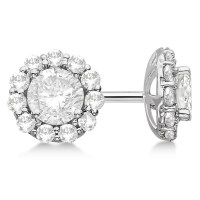 Round Diamond Stud Earrings Halo Setting In 18K White Gold ...