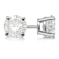 Round Diamond Stud Earrings 4-Prong Basket Setting In ...