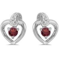 Garnet and Diamond Heart Earrings 14k White Gold (0.28ctw ...