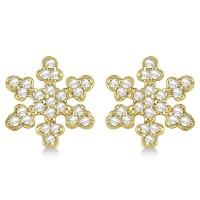 Diamond Snowflake Earrings 14k Yellow Gold (0.24ct) - AD1152