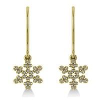 Diamond Snowflake Loop Earrings 14k Yellow Gold (0.24ct ...