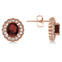 Garnet & Diamond Floral Oval Earrings 14k Rose Gold (5 ...