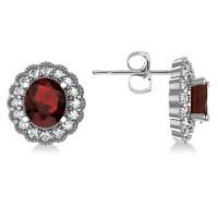 Garnet & Diamond Floral Oval Earrings 14k White Gold (5 ...