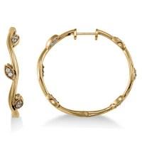 Diamond Accented Vine Leaf Loop Earrings 14k Yellow Gold 0 ...
