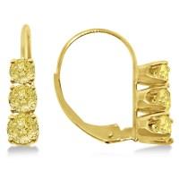 Three-Stone Leverback Yellow Diamond Earrings 14k Yellow ...