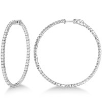 X-Large Round Diamond Hoop Earrings 14k White Gold (5.15ct ...