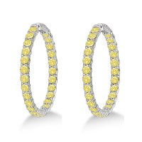 Yellow Canary Diamond Hoop Earrings 14k White Gold 10.00ct ...