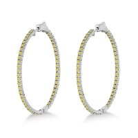 Large Yellow Canary Diamond Hoop Earrings 14k White Gold ...
