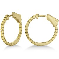 Thin Yellow Canary Diamond Hoop Earrings 14K Yellow Gold 0 ...