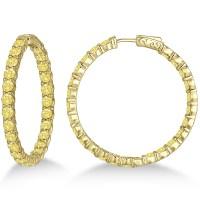 Yellow Canary Diamond Hoop Earrings 14k Yellow Gold 10 ...