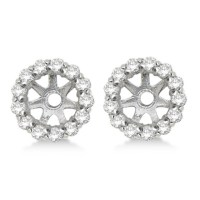 Round Diamond Earring Jackets for 4mm Studs 14K White Gold