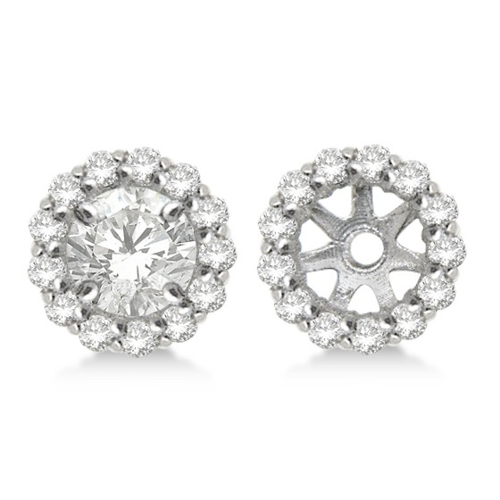 Round Diamond Earring Jackets for 5mm Studs 14K White Gold