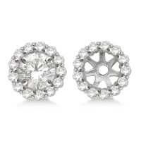 Round Diamond Earring Jackets for 5mm Studs 14K White Gold ...