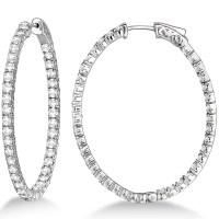 Large Oval-Shaped Diamond Hoop Earrings 14k White Gold 5 ...