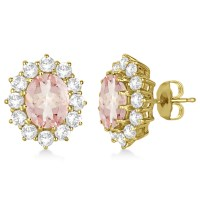 Oval Morganite and Diamond Earrings 14k Yellow Gold (7