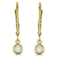 Leverback Dangling Drop Diamond Earrings 14k Yellow Gold 0 ...