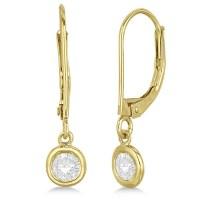 Leverback Dangling Drop Diamond Earrings 14k Yellow Gold 0