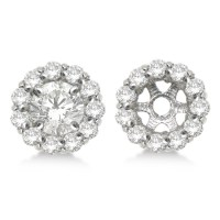 Round Diamond Earring Jackets for 8mm Studs 14K White Gold