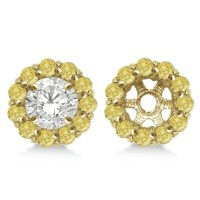 Round Yellow Diamond Earring Jackets for 6mm Studs 14K Y ...
