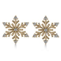Diamond Snowflake Winter Earrings 14k Yellow Gold (0.15ct ...