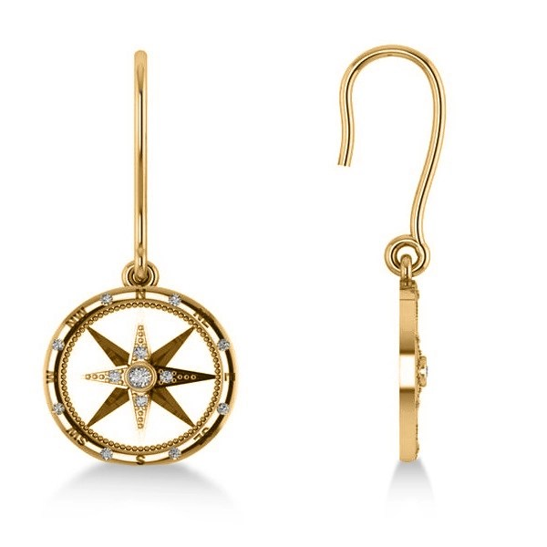 Diamond Nautical Dangle Compass Earrings 14k Yellow Gold 0