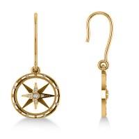 Diamond Nautical Dangle Compass Earrings 14k Yellow Gold 0