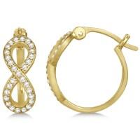 Diamond Infinity Style Hinged Hoop Earrings 14k Yellow ...