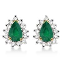 Emerald & Diamond Teardrop Earrings 14k Yellow Gold (1 ...