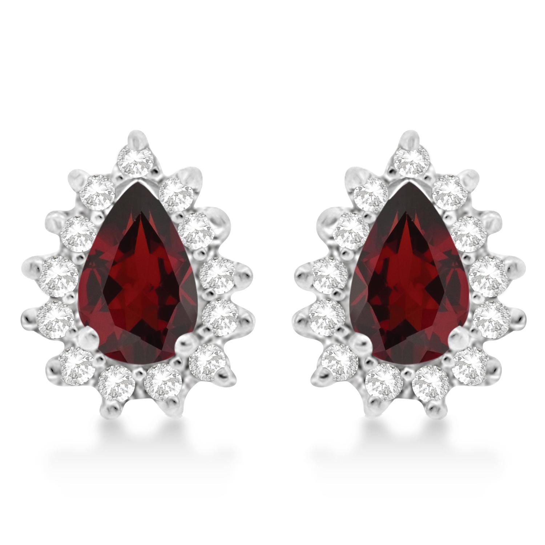 Garnet & Diamond Teardrop Earrings 14k White Gold (1.10ctw