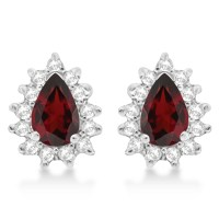 Garnet & Diamond Teardrop Earrings 14k White Gold (1.10ctw