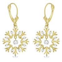 Snowflake Shaped Dangle Drop Diamond Earrings 14K Yellow ...