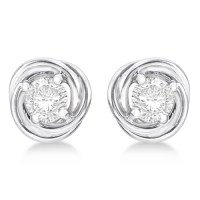 Diamond Love Knot Stud Earrings 14k White Gold (0.50ct ...