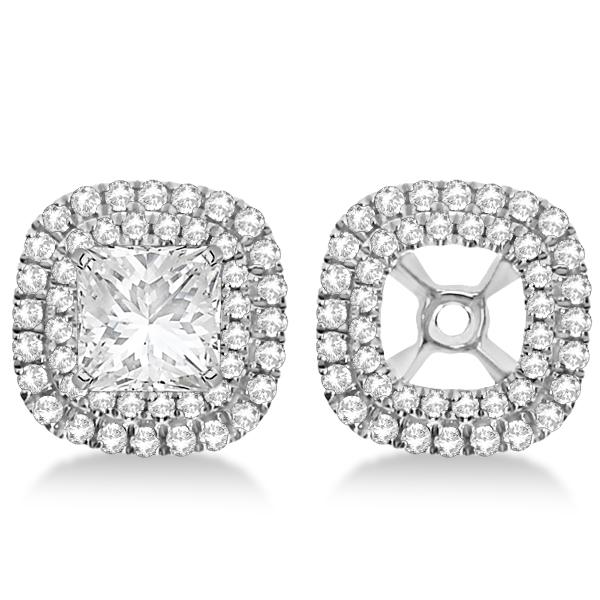 Square Shaped Diamond Double Halo Earring Jackets 14k