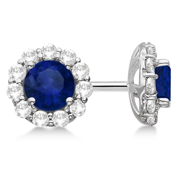 Halo Blue Sapphire & Diamond Stud Earrings 14kt White Gold 2.62ct. - St1429