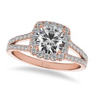 Diamond Square Halo Engagement Ring 14k Rose Gold (1.50ct ...