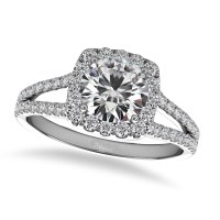 Diamond Square Halo Engagement Ring 14k White Gold (1.50ct ...