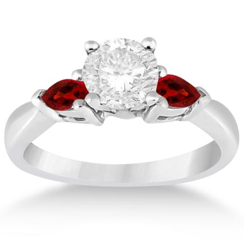 Pear Cut Three Stone Garnet Engagement Ring 14k White Gold
