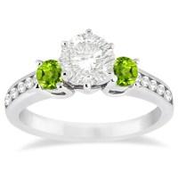 Three-Stone Peridot & Diamond Engagement Ring 14k White ...