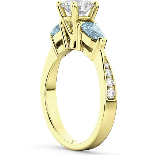 Diamond & Pear Aquamarine Engagement Ring 14k Yellow Gold