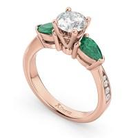 Diamond & Pear Green Emerald Engagement Ring 14k Rose Gold ...
