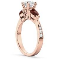 Diamond & Pear Ruby Gemstone Engagement Ring 14k Rose Gold
