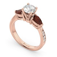 Diamond & Pear Ruby Gemstone Engagement Ring 14k Rose Gold ...